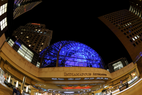 Indianapolis Arts Garden, Glass steel dome lit up blue at night
