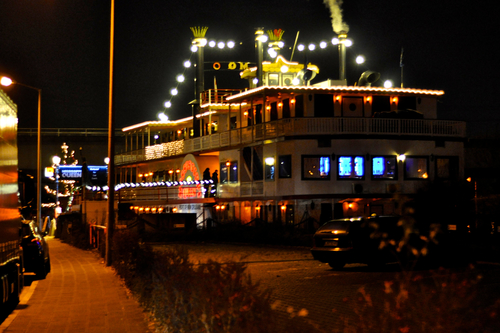 Paddlewheel Boat at Illuminated at Night on the Mississippi