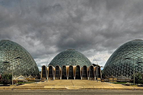 Three Glass Domes at the Mitchell Conservatory in Milwaukee
