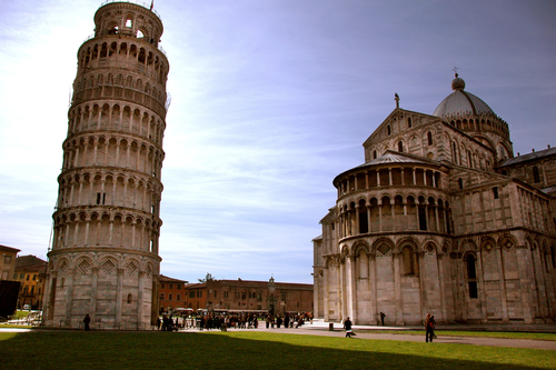 Leaning Tower of Pisa next to the Duomo of Pisa
