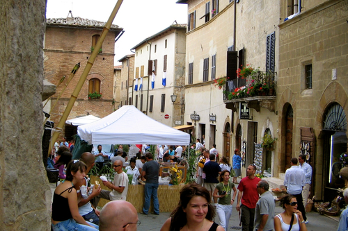 People in the Streets of Pienza