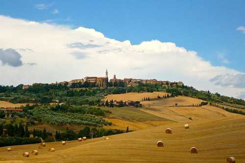 View of Pienza and Surrounding Countryside Hills in Tuscany