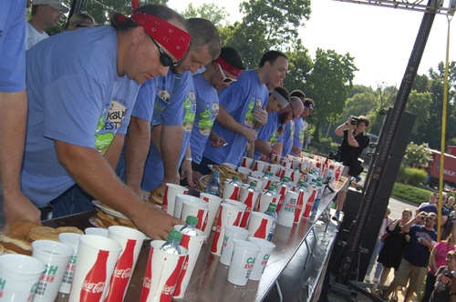 Competitors eat slugburgers at the World Slugburger Championship.