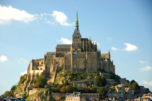 Mont-St-Michel on an island hill in Normandy, France.