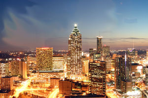 Downtown Atlanta at night.