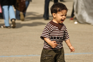 Child crying alone in the street