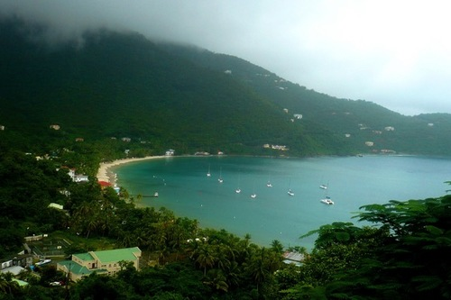 A bird's eye view of Cane Garden Bay in Tortola.