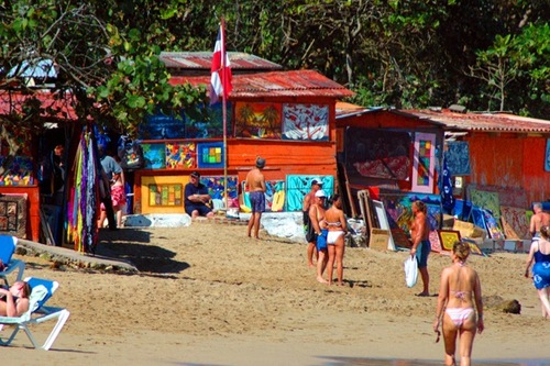 A beach bazaar at Playa Dorada.