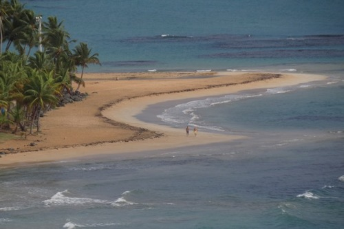 An early morning walk on Luquillo Beach in Puerto Rico