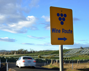A photo of a wine route sign in the Tamar Valley, Tasmania