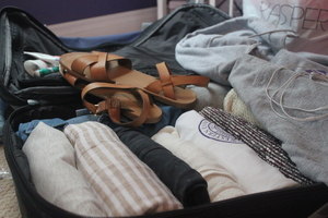 Suitcase packing for a trip