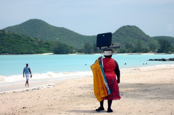 A vendor plies her wares on one of Antigua's beaches