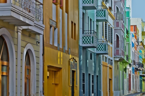 A colorful street in San Juan, Puerto Rico.