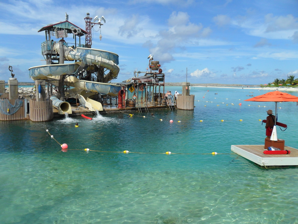 Elaborate waterslides off the beach at Castaway Cay, Disney's private island.