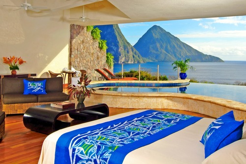 A bedroom with a view at the Jade Mountain resort in St. Lucia