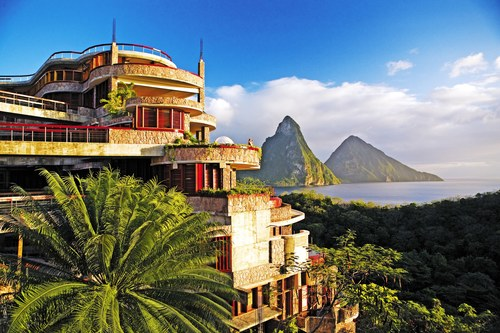A bird's eye view of the Jade Mountain Resort in St. Lucia