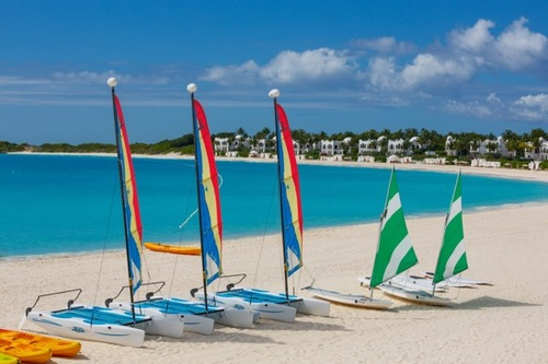 Sailboats on the beach at Cap Juluca in Anguilla