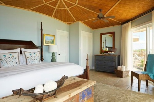 A guestroom at the Fowl Cay in Great Exumas, the Bahamas.