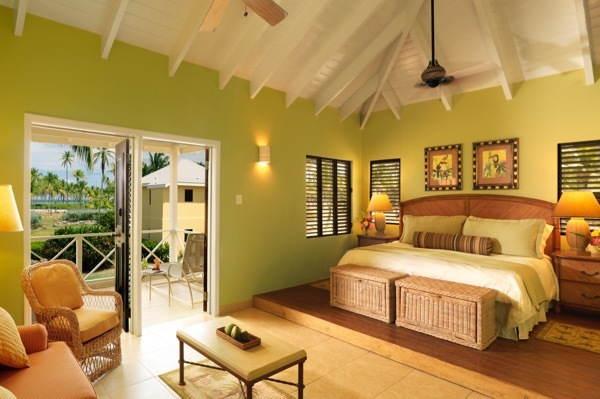 A guestroom at the Nisbet Plantation in Nevis
