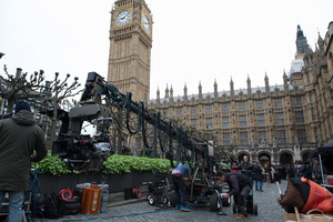 A camera and crane sit outside of Parliament on the set of director Sarah Gavron's Suffragette, a Focus Features release.