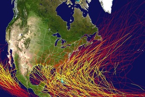 Historic Caribbean hurricane season track map