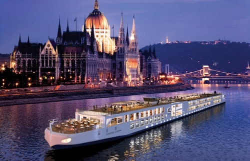 A Viking River boat in Budapest, Hungary.