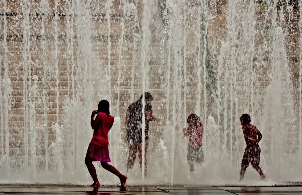 Children play in the water in Puerto Rico.