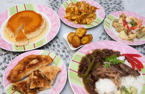 Plates of Puerto Rican food.