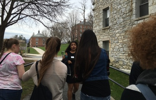 A tour guide leads a tour of Williams College in Williamstown, Massachusetts.
