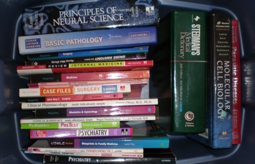 A stack of textbooks