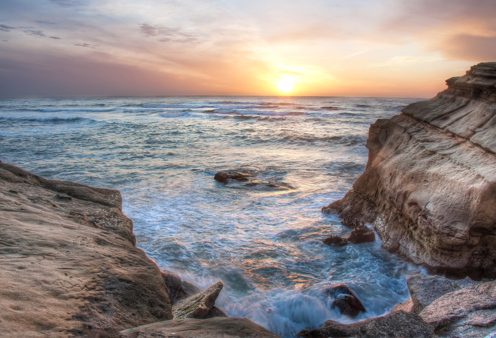 A sunset at Sunset Cliffs in San Diego.