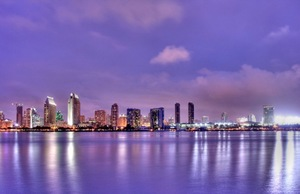 The skyline of San Diego at twilight.