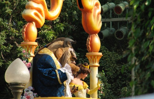 Belle and the Beast in Disneyland, Anaheim, California.