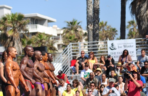 Body builders compete at Muscle Beach, in Venice, California