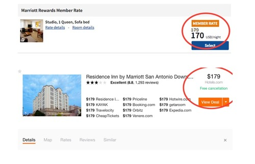 Screenshot comparing prices for booking a room directly through the hotel website vs. an online travel agency
