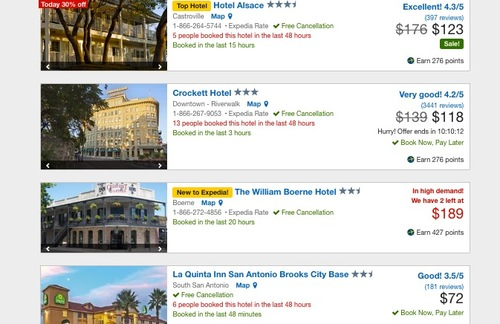 Screenshot showing a small sampling of hotel rates available in San Antonio from Expedia