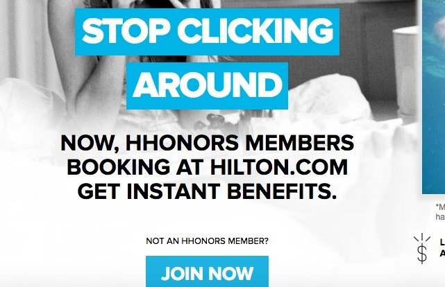 Promotional material for Hilton's loyalty program, Hilton HHonors