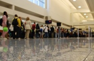 People in line at Hartsfield-Jackson Atlanta International Airport