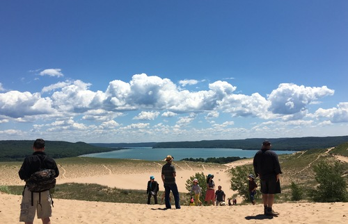 Vacationers at the Dune Climb at Sleeping Bear Dune National Lakeshore