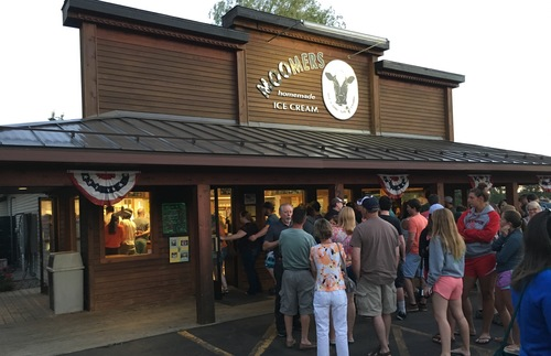 A crowd waits to get into Moomers, an ice cream parlor in the area between Interlochen and Traverse City.