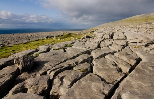 An expanse of limestone in the Burren in County Clare, Ireland