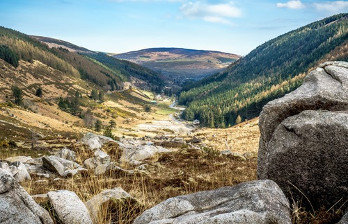 View of the Glendalough Valley in Ireland's Wicklow Mountains National Park