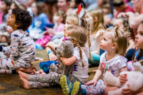 Children gathering around for storytime at Great Wolf Lodge Family Resort