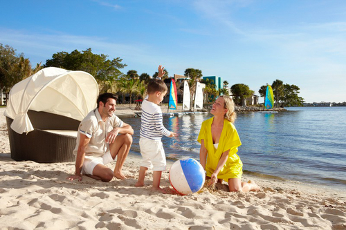 A family relaxing by the beach at Club Med Sandpiper