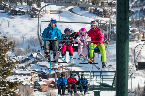 A family on the ski lift at Deer Valley Ski Resort