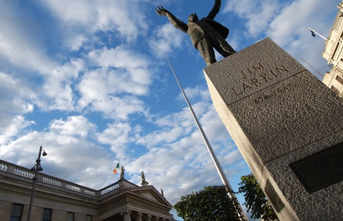 Statue of Irish social activist Jim Larkin outside the General Post Office in Dublin