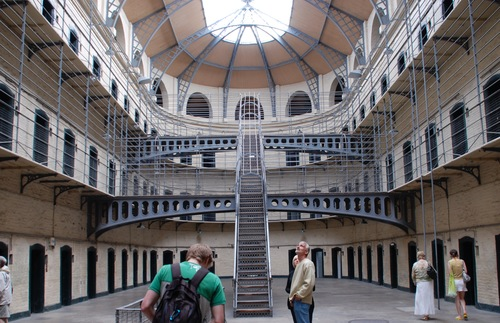 Three levels of cells inside Dublin's Kilmainham Gaol, a political prison during the era of British rule
