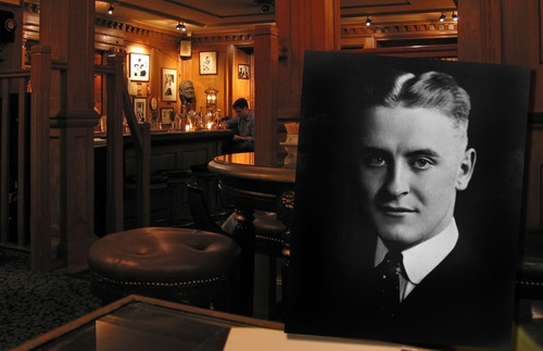 A photo of F. Scott Fitzgerald in the Bar Hemingway at the Ritz Paris, where the two authors are said to have hung out during the 1920s