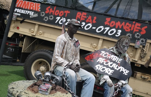 A display in front of the Zombie Apocalypse Store