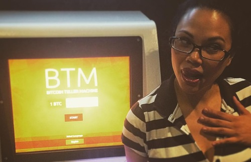 A woman at a Bitcoin ATM in Las Vegas